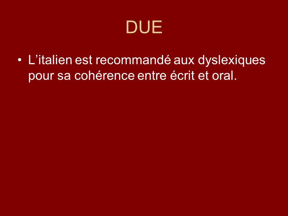 DUE Litalien est recommandé aux dyslexiques pour sa cohérence entre écrit et oral.