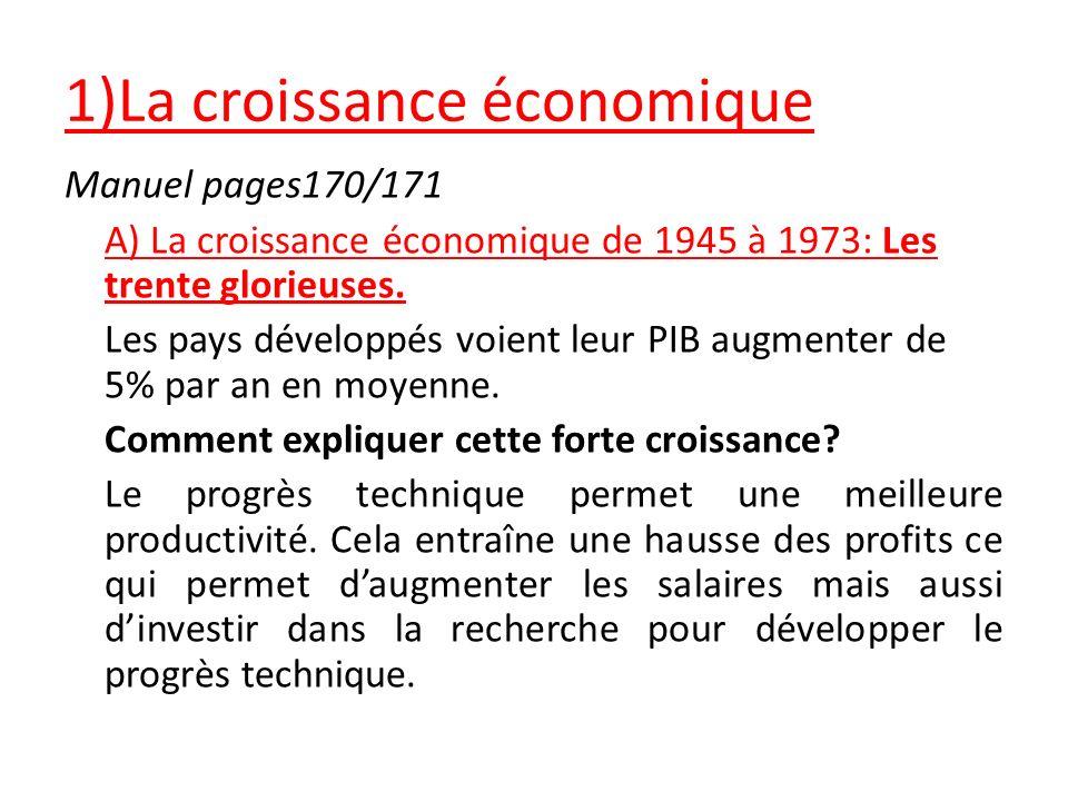 1)La croissance économique Manuel pages170/171 A) La croissance économique de 1945 à 1973: Les trente glorieuses. Les pays développés voient leur PIB