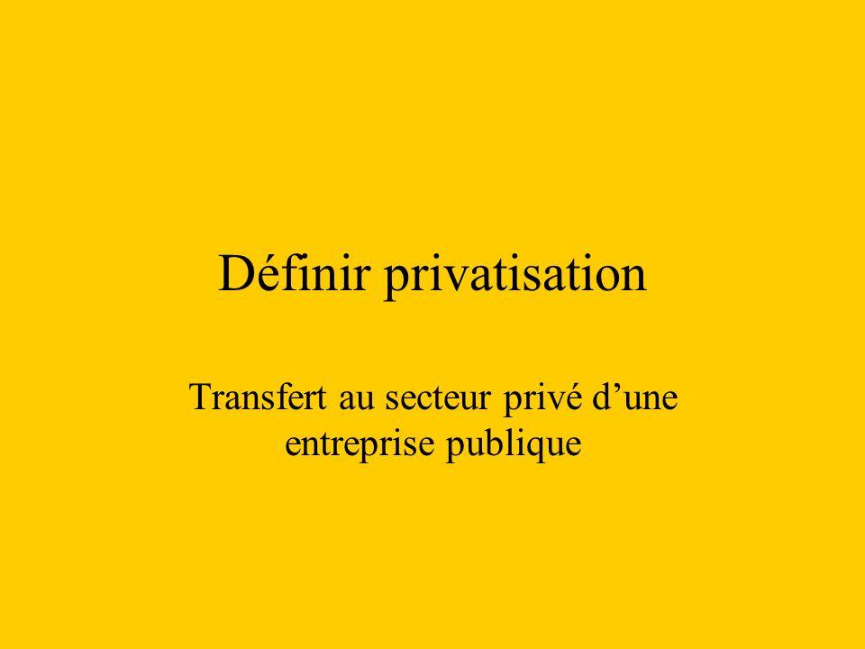 Définir privatisation Transfert au secteur privé dune entreprise publique
