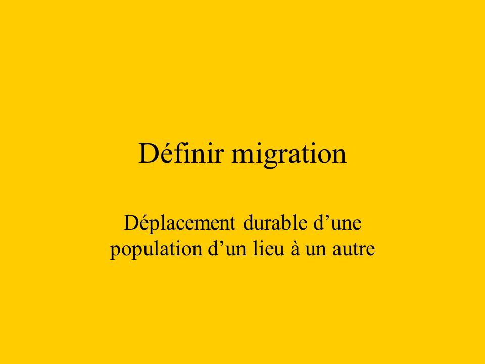 Définir migration Déplacement durable dune population dun lieu à un autre
