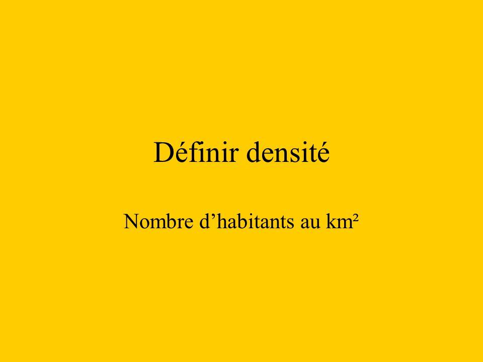 Définir densité Nombre dhabitants au km²