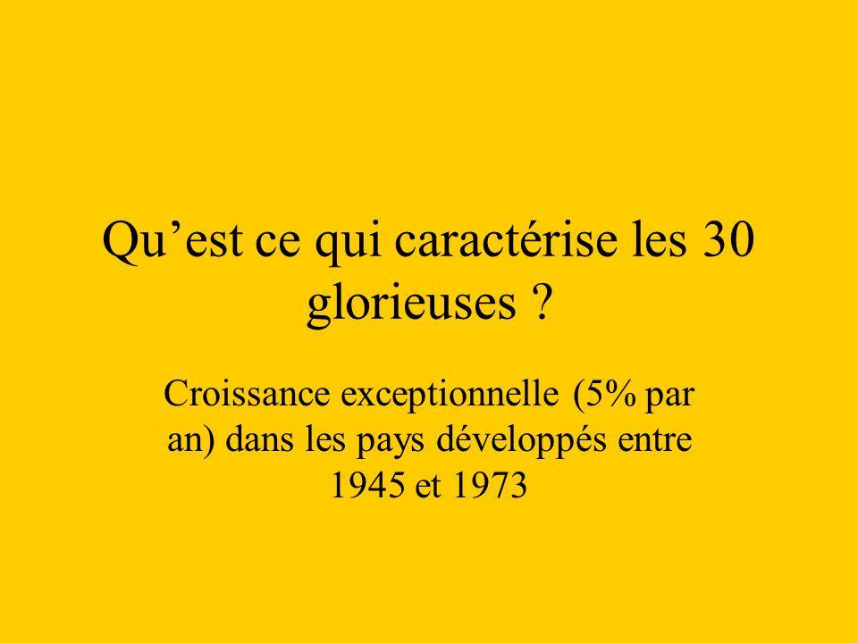 Quest ce qui caractérise les 30 glorieuses ? Croissance exceptionnelle (5% par an) dans les pays développés entre 1945 et 1973