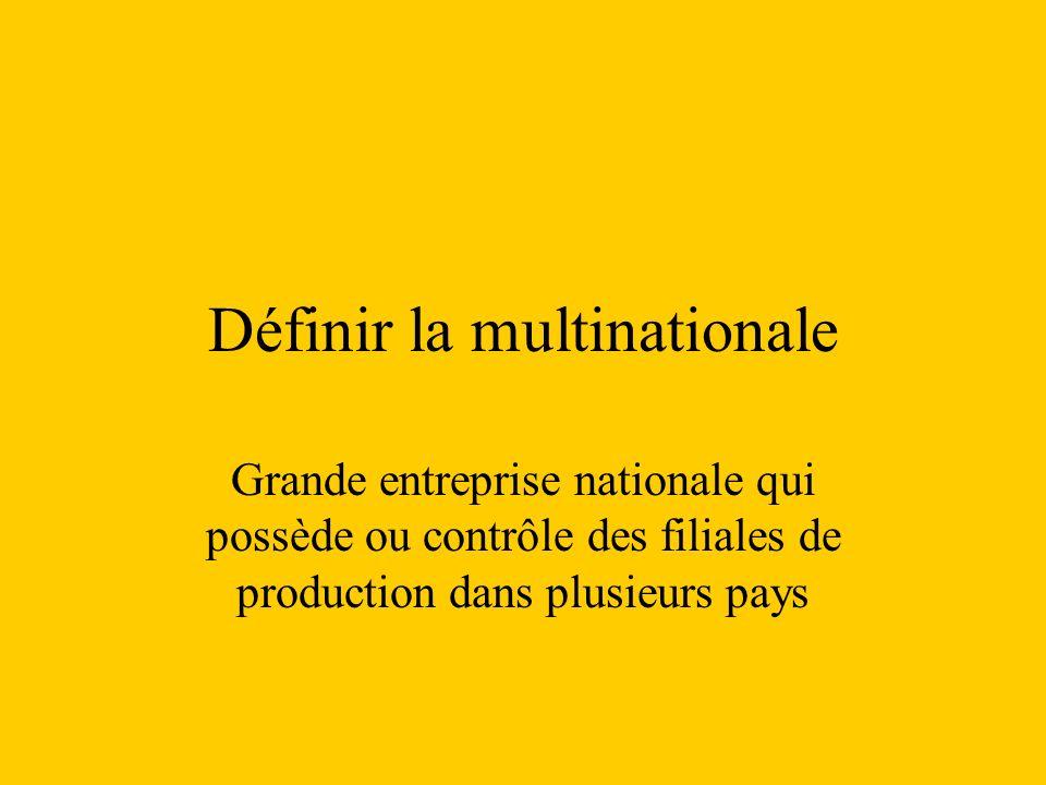 Définir la multinationale Grande entreprise nationale qui possède ou contrôle des filiales de production dans plusieurs pays