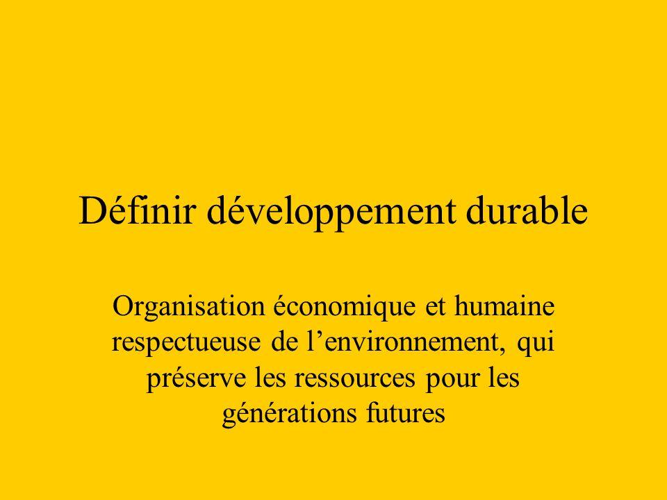 Définir développement durable Organisation économique et humaine respectueuse de lenvironnement, qui préserve les ressources pour les générations futu