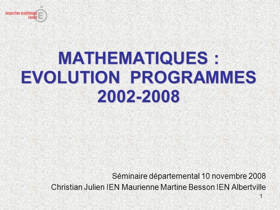 1 MATHEMATIQUES : EVOLUTION PROGRAMMES 2002-2008 Séminaire départemental 10 novembre 2008 Christian Julien IEN Maurienne Martine Besson IEN Albertvill