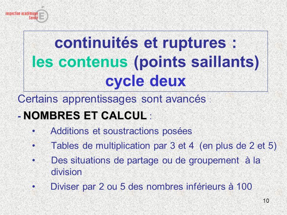 10 continuités et ruptures : les contenus (points saillants) cycle deux Certains apprentissages sont avancés : NOMBRES ET CALCUL - NOMBRES ET CALCUL :