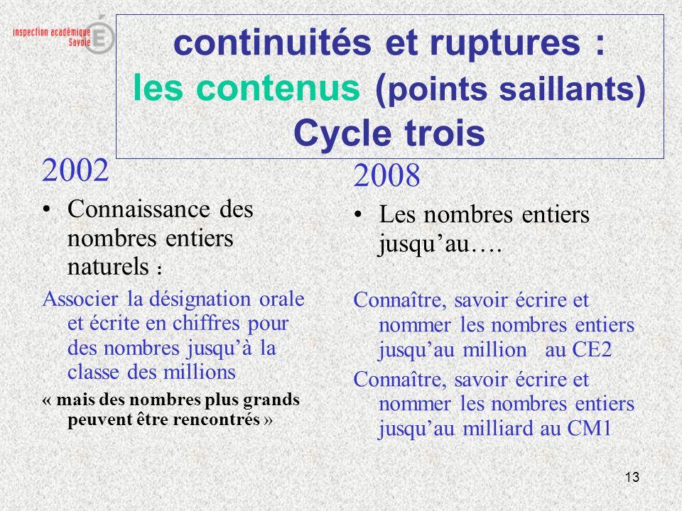 13 continuités et ruptures : les contenus ( points saillants) Cycle trois 2002 Connaissance des nombres entiers naturels : Associer la désignation ora