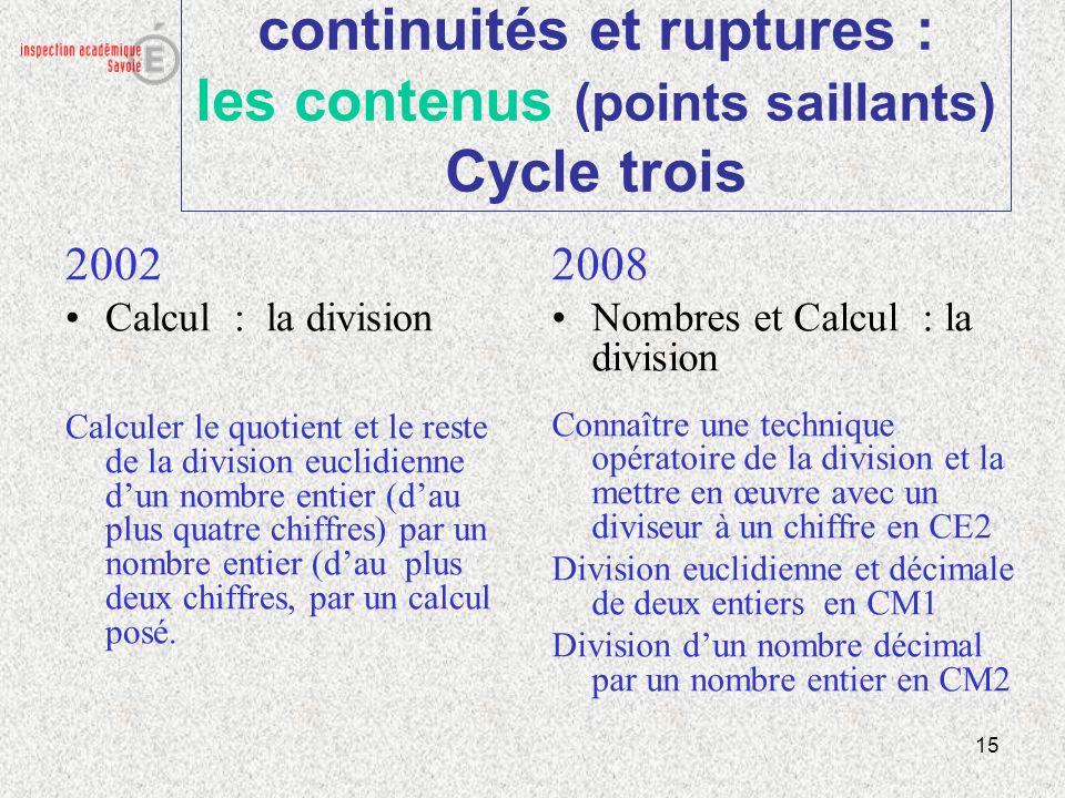 15 continuités et ruptures : les contenus (points saillants) Cycle trois 2002 Calcul : la division Calculer le quotient et le reste de la division euc