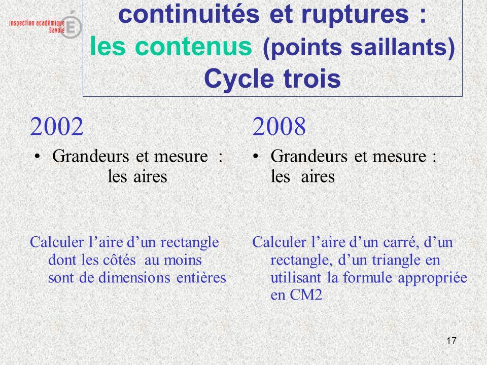 17 continuités et ruptures : les contenus (points saillants) Cycle trois 2002 Grandeurs et mesure : les aires Calculer laire dun rectangle dont les cô