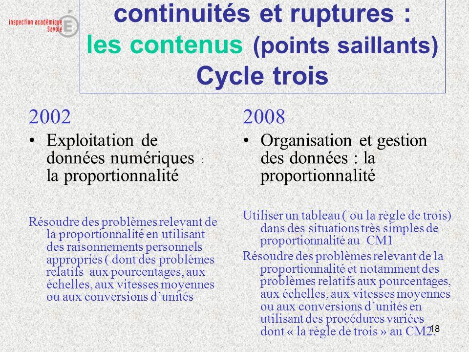 18 continuités et ruptures : les contenus (points saillants) Cycle trois 2002 Exploitation de données numériques : la proportionnalité Résoudre des pr
