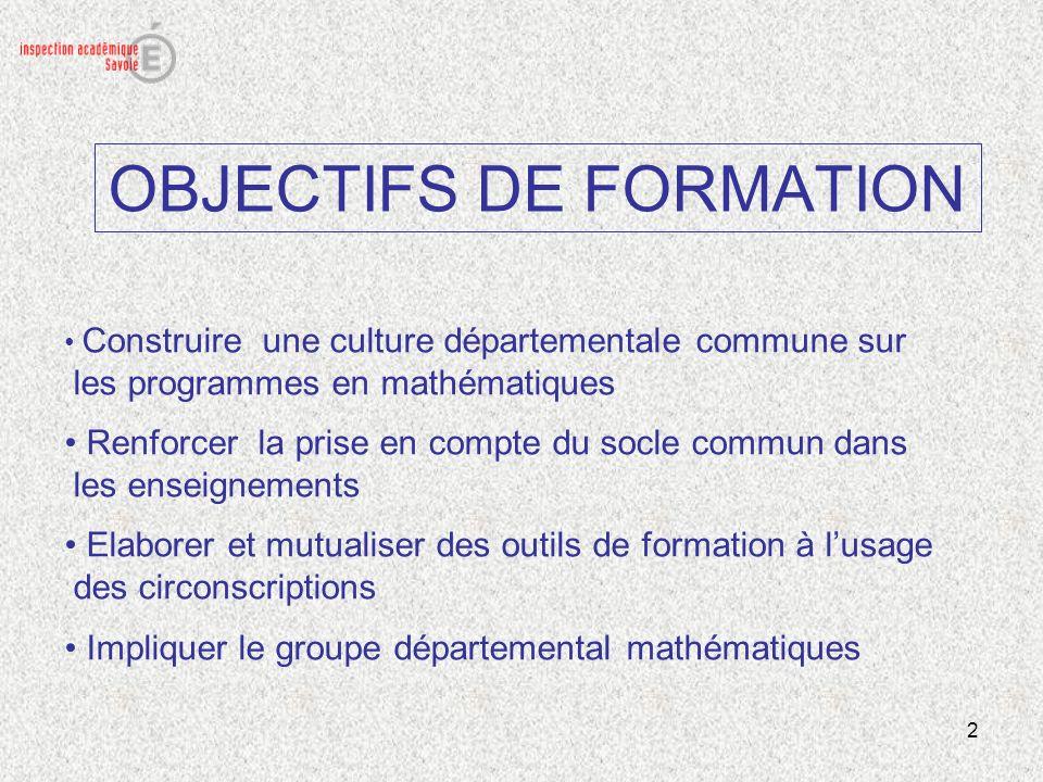 2 OBJECTIFS DE FORMATION Construire une culture départementale commune sur les programmes en mathématiques Renforcer la prise en compte du socle commu