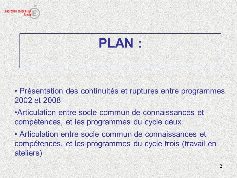 3 PLAN : Présentation des continuités et ruptures entre programmes 2002 et 2008 Articulation entre socle commun de connaissances et compétences, et le