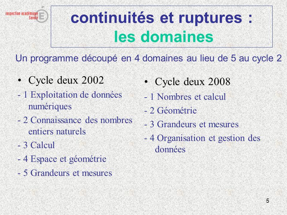 6 continuités et ruptures : les domaines Cycle trois 2002 - 1 Exploitation de données numériques - 2 Connaissance des nombres entiers naturels - 3 Connaissance des fractions simples et des nombres décimaux - 4 Calcul - 5 Espace et géométrie - 6 Grandeur et mesures Cycle trois 2008 - 1 Nombres et calcul - 2 Géométrie - 3 Grandeurs et mesures - 4 Organisation et gestion des données Un programme découpé en 4 domaines au lieu de 6 au cycle 3