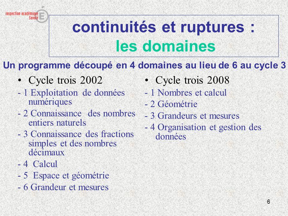 6 continuités et ruptures : les domaines Cycle trois 2002 - 1 Exploitation de données numériques - 2 Connaissance des nombres entiers naturels - 3 Con
