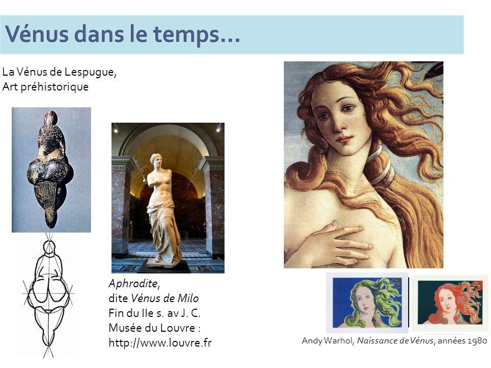 Aphrodite, dite Vénus de Milo Fin du IIe s. av J. C. Musée du Louvre : http://www.louvre.fr La Vénus de Lespugue, Art préhistorique Andy Warhol, Naiss