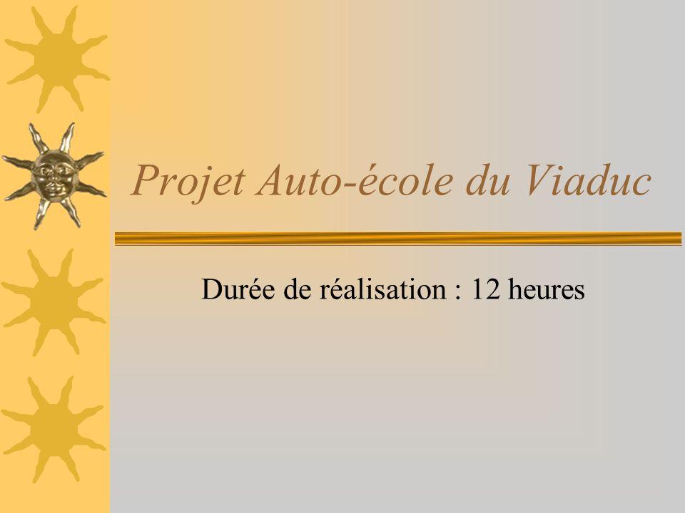 Projet Auto-école du Viaduc Durée de réalisation : 12 heures