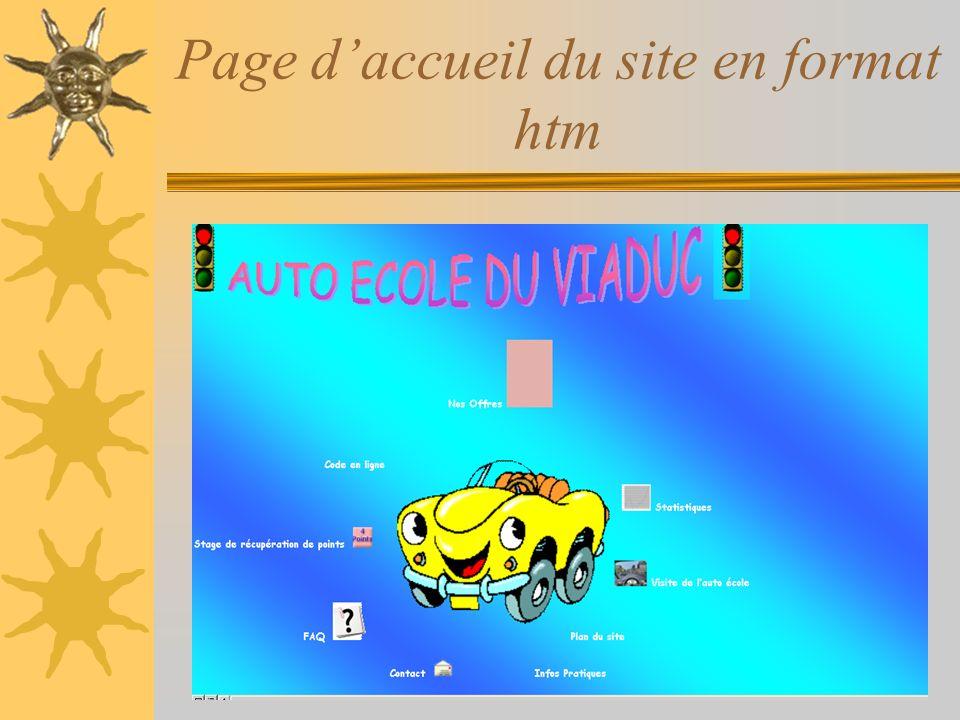 Page daccueil du site en format htm