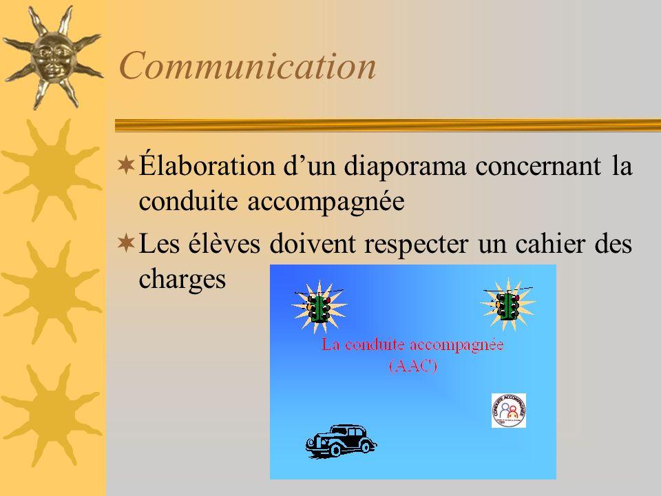 Communication Élaboration dun diaporama concernant la conduite accompagnée Les élèves doivent respecter un cahier des charges
