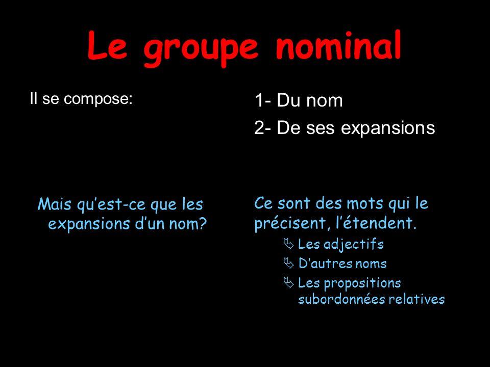 Le groupe nominal Il se compose: Mais quest-ce que les expansions dun nom? 1- Du nom 2- De ses expansions Ce sont des mots qui le précisent, létendent