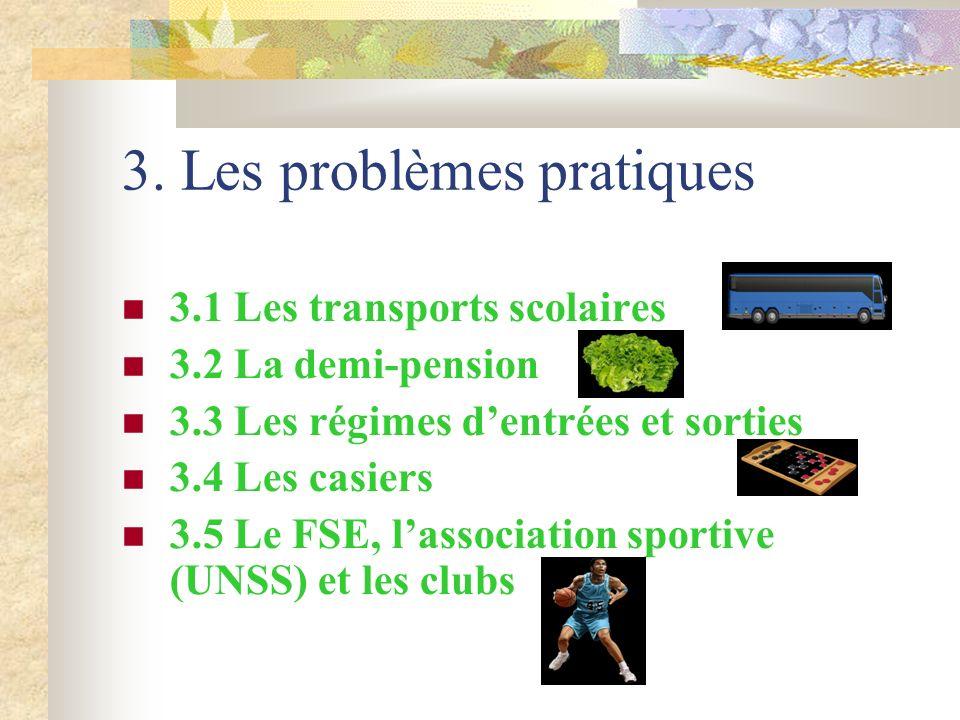 3. Les problèmes pratiques 3.1 Les transports scolaires 3.2 La demi-pension 3.3 Les régimes dentrées et sorties 3.4 Les casiers 3.5 Le FSE, lassociati