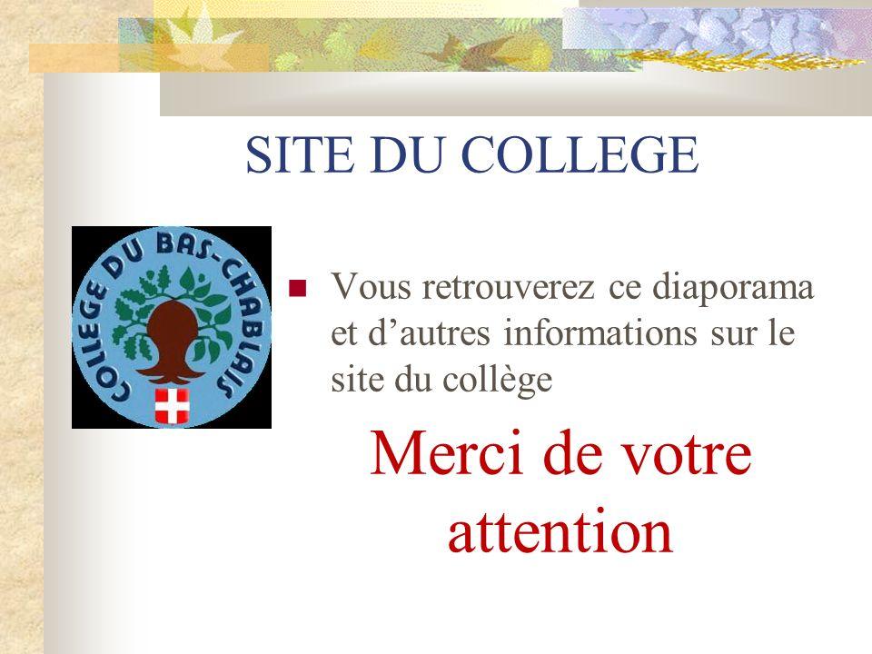 SITE DU COLLEGE Vous retrouverez ce diaporama et dautres informations sur le site du collège Merci de votre attention