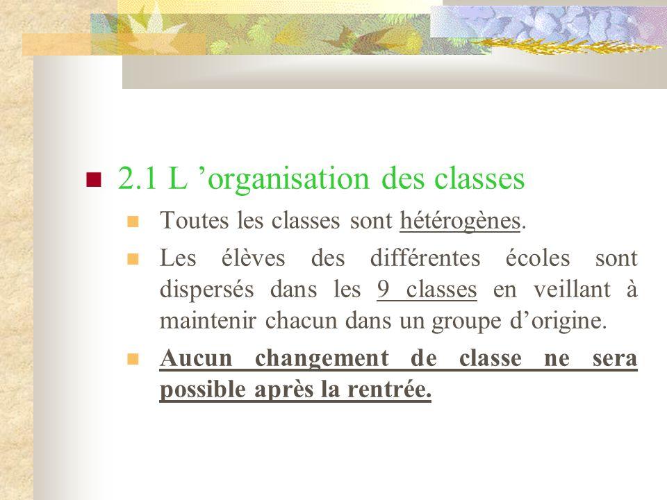 2.1 L organisation des classes Toutes les classes sont hétérogènes.