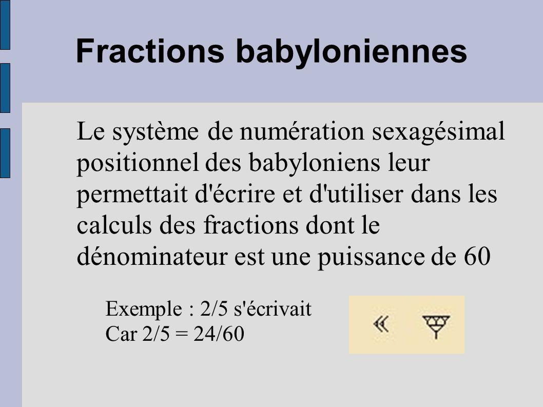 Fractions babyloniennes Le système de numération sexagésimal positionnel des babyloniens leur permettait d'écrire et d'utiliser dans les calculs des f