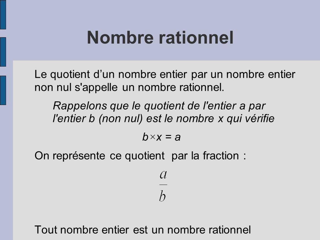 Nombre rationnel Le quotient dun nombre entier par un nombre entier non nul s'appelle un nombre rationnel. Rappelons que le quotient de l'entier a par
