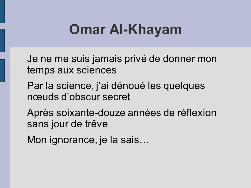 Omar Al-Khayam Je ne me suis jamais privé de donner mon temps aux sciences Par la science, jai dénoué les quelques nœuds dobscur secret Après soixante