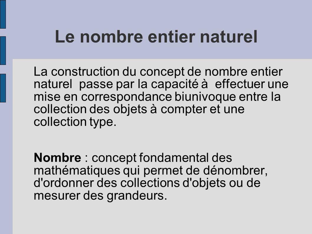 Le nombre entier naturel La construction du concept de nombre entier naturel passe par la capacité à effectuer une mise en correspondance biunivoque e