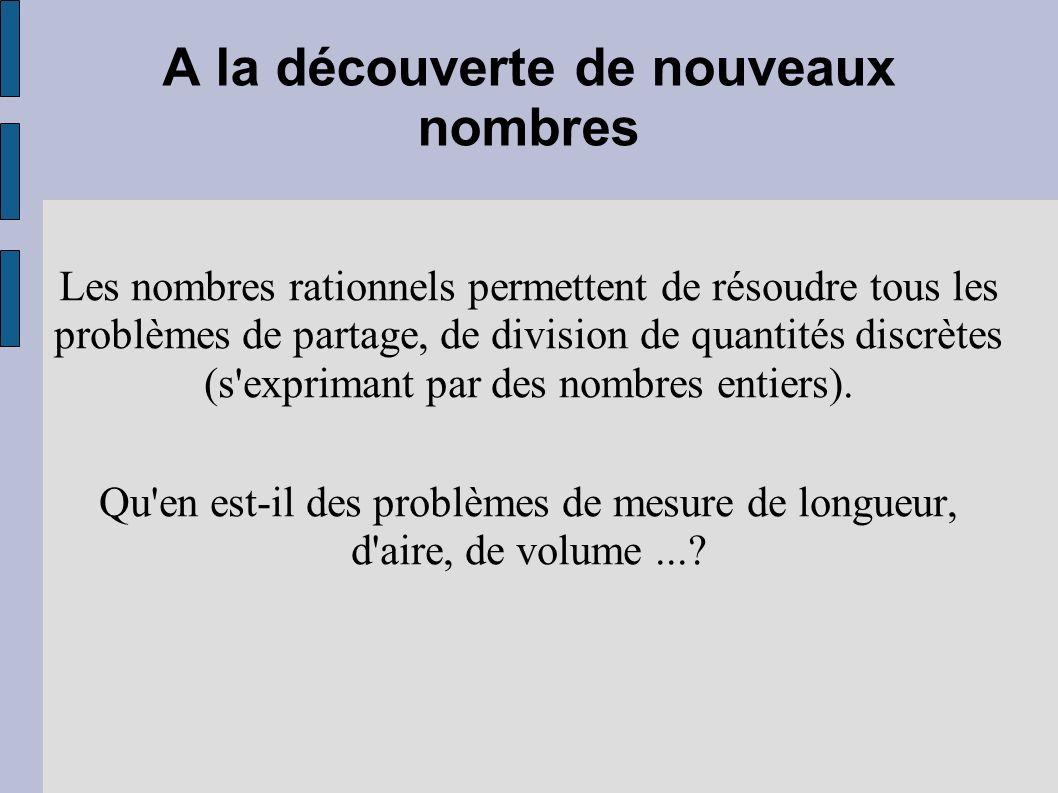 A la découverte de nouveaux nombres Les nombres rationnels permettent de résoudre tous les problèmes de partage, de division de quantités discrètes (s