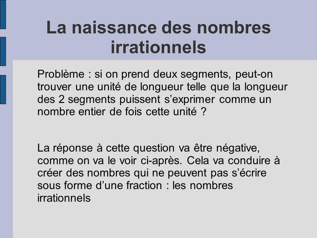 La naissance des nombres irrationnels Problème : si on prend deux segments, peut-on trouver une unité de longueur telle que la longueur des 2 segments
