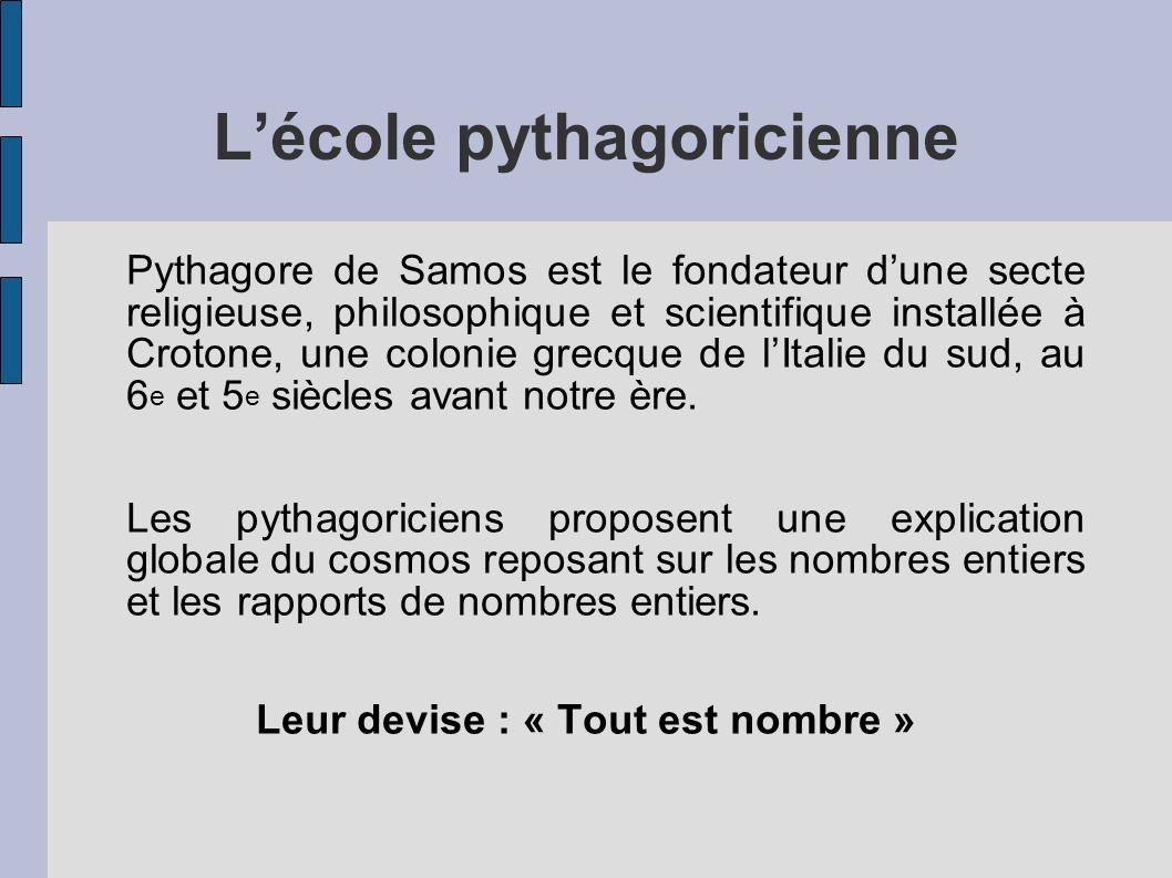 Lécole pythagoricienne Pythagore de Samos est le fondateur dune secte religieuse, philosophique et scientifique installée à Crotone, une colonie grecq