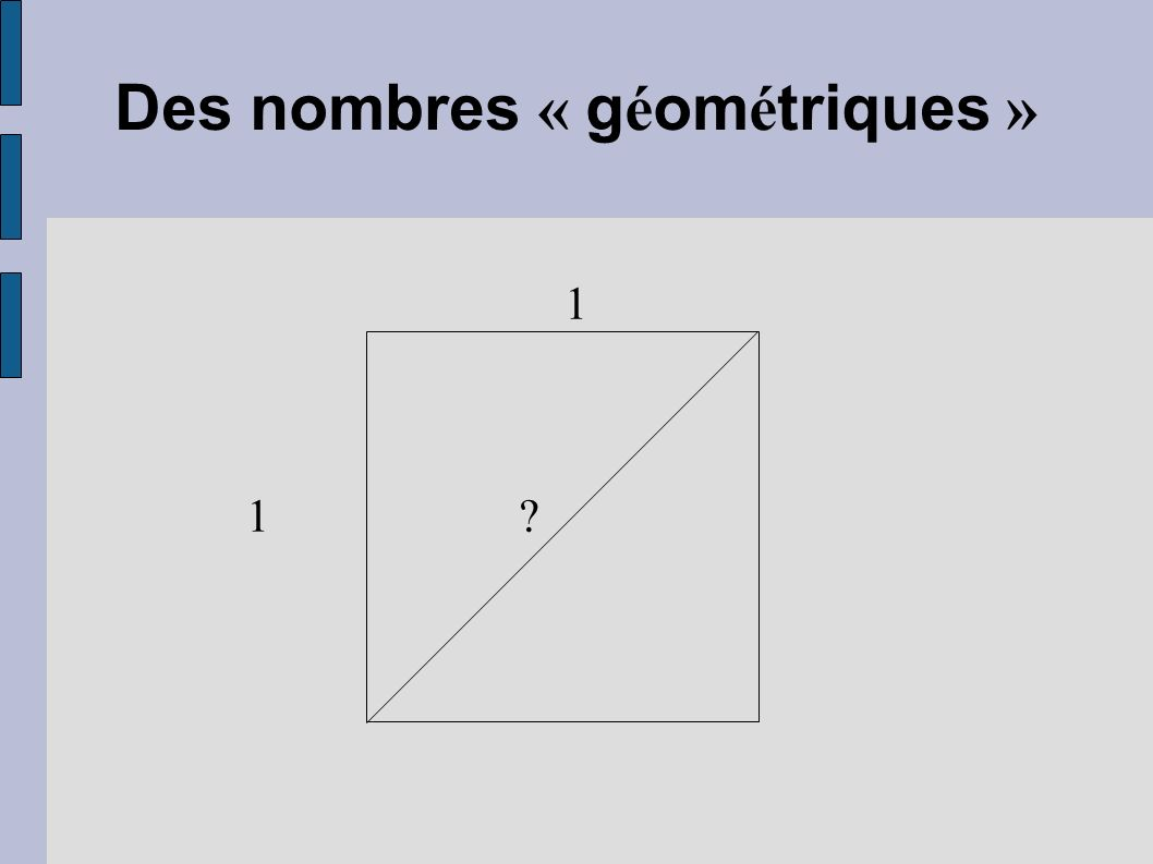 Des nombres « g é om é triques » 1 1 ?