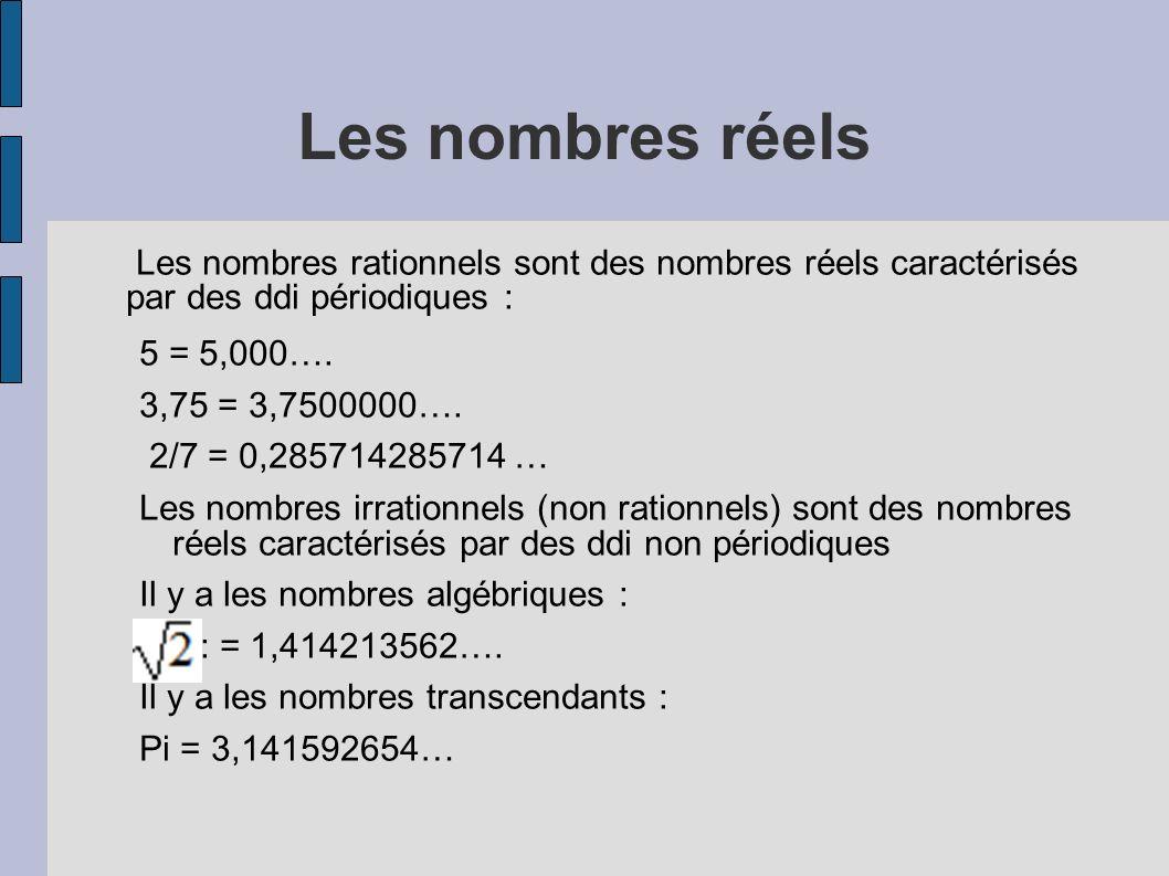 Les nombres réels Les nombres rationnels sont des nombres réels caractérisés par des ddi périodiques : 5 = 5,000…. 3,75 = 3,7500000…. 2/7 = 0,28571428