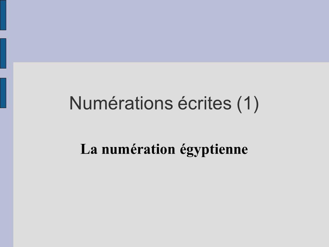 Numérations écrites (1) La numération égyptienne