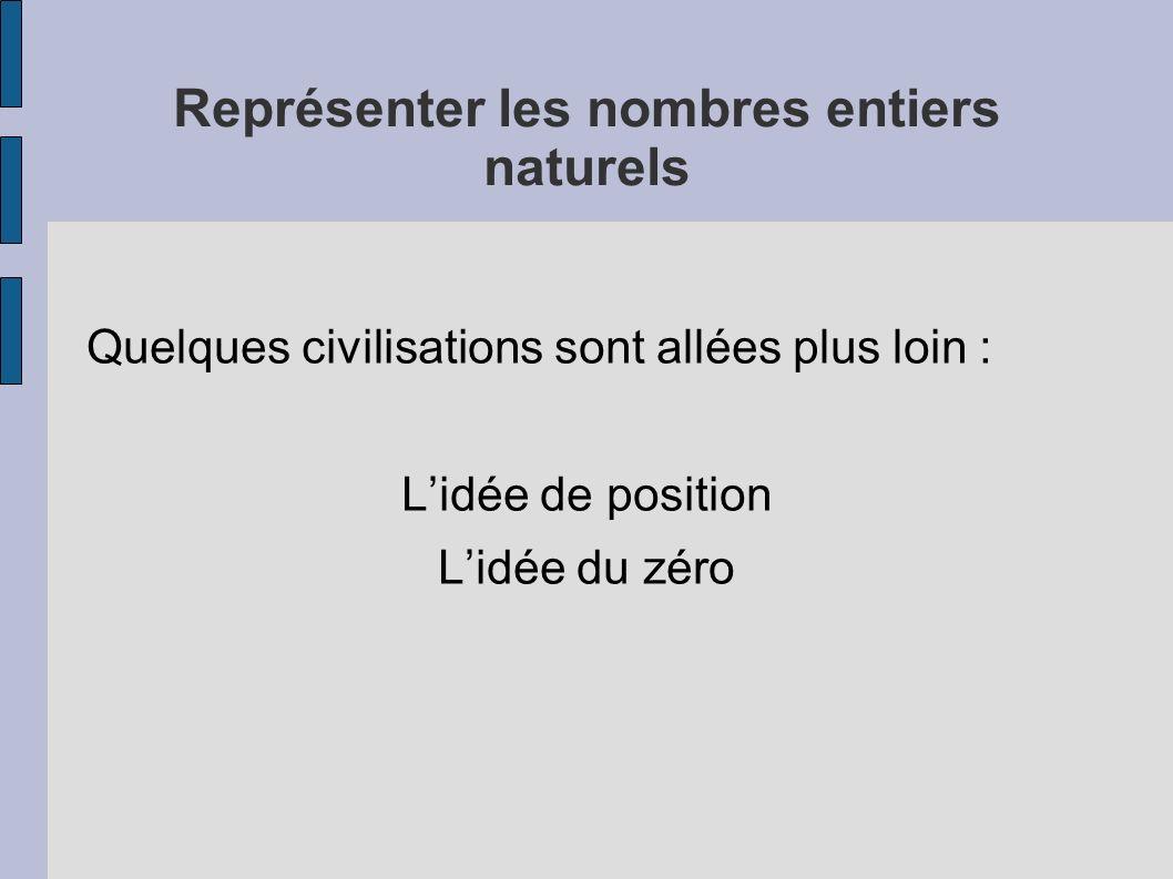 Représenter les nombres entiers naturels Quelques civilisations sont allées plus loin : Lidée de position Lidée du zéro