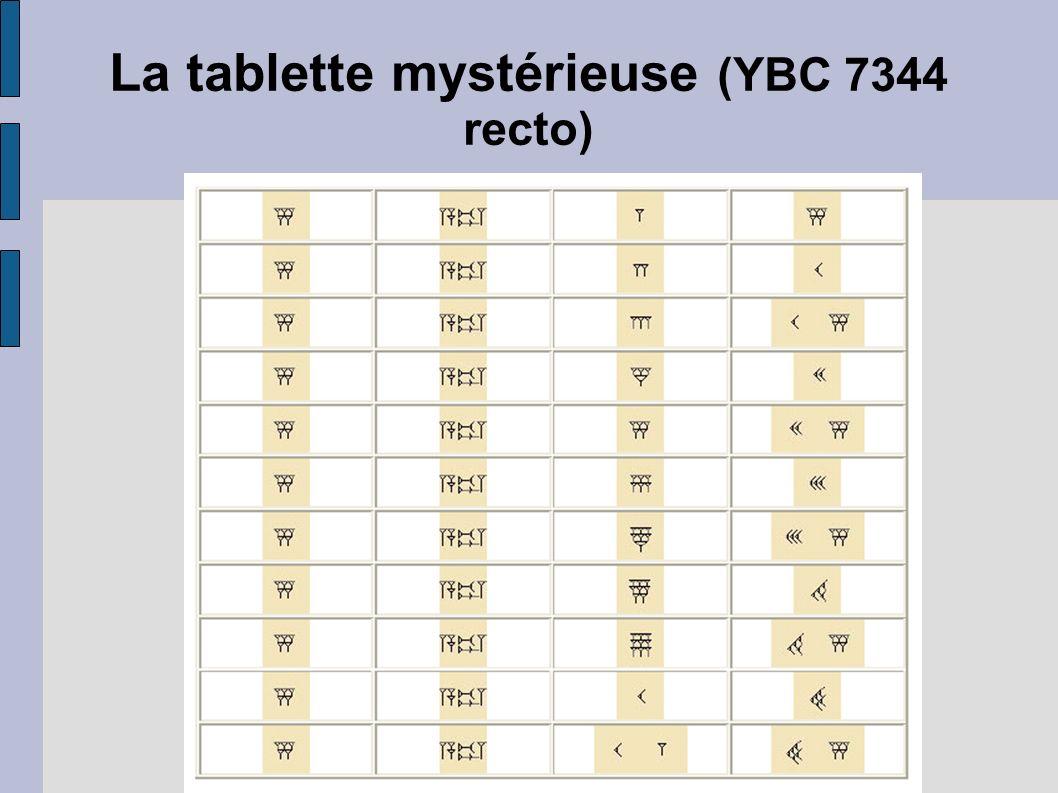 La tablette mystérieuse (YBC 7344 recto)