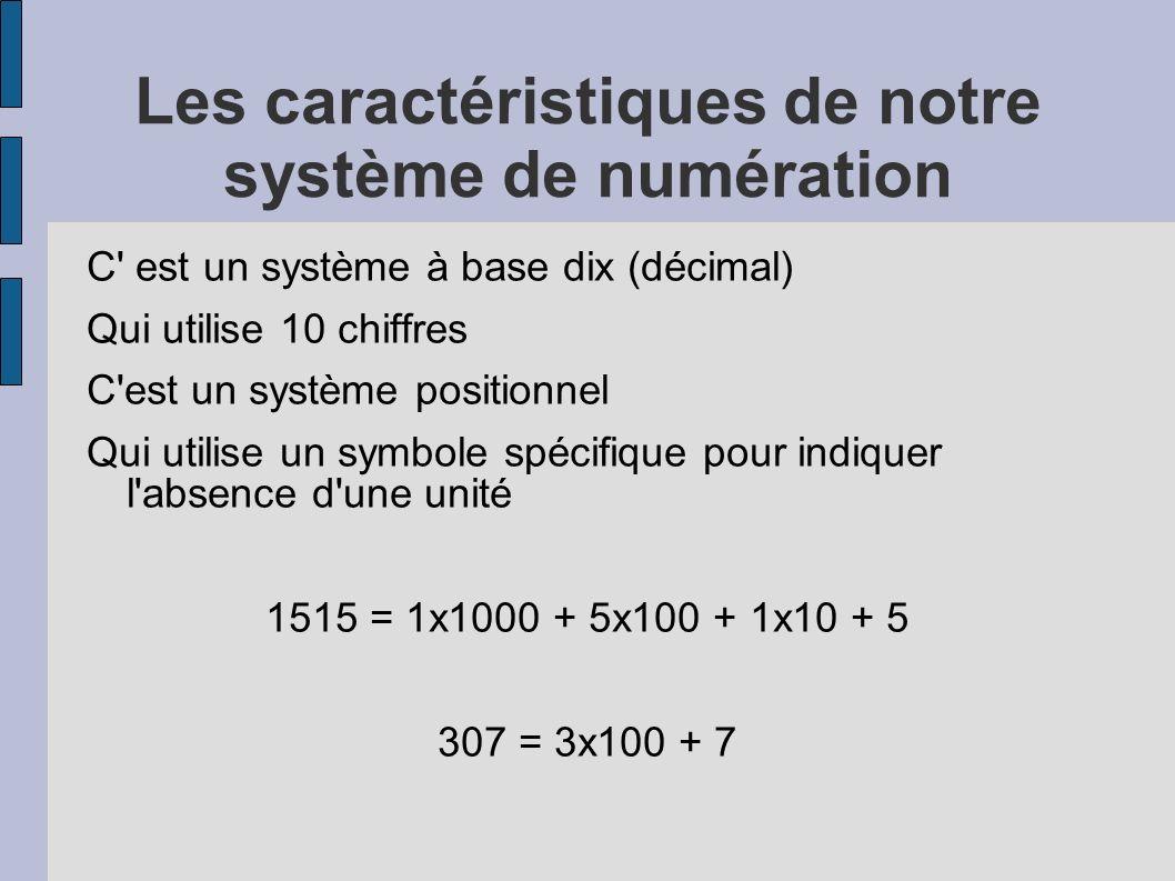 Les caractéristiques de notre système de numération C' est un système à base dix (décimal) Qui utilise 10 chiffres C'est un système positionnel Qui ut