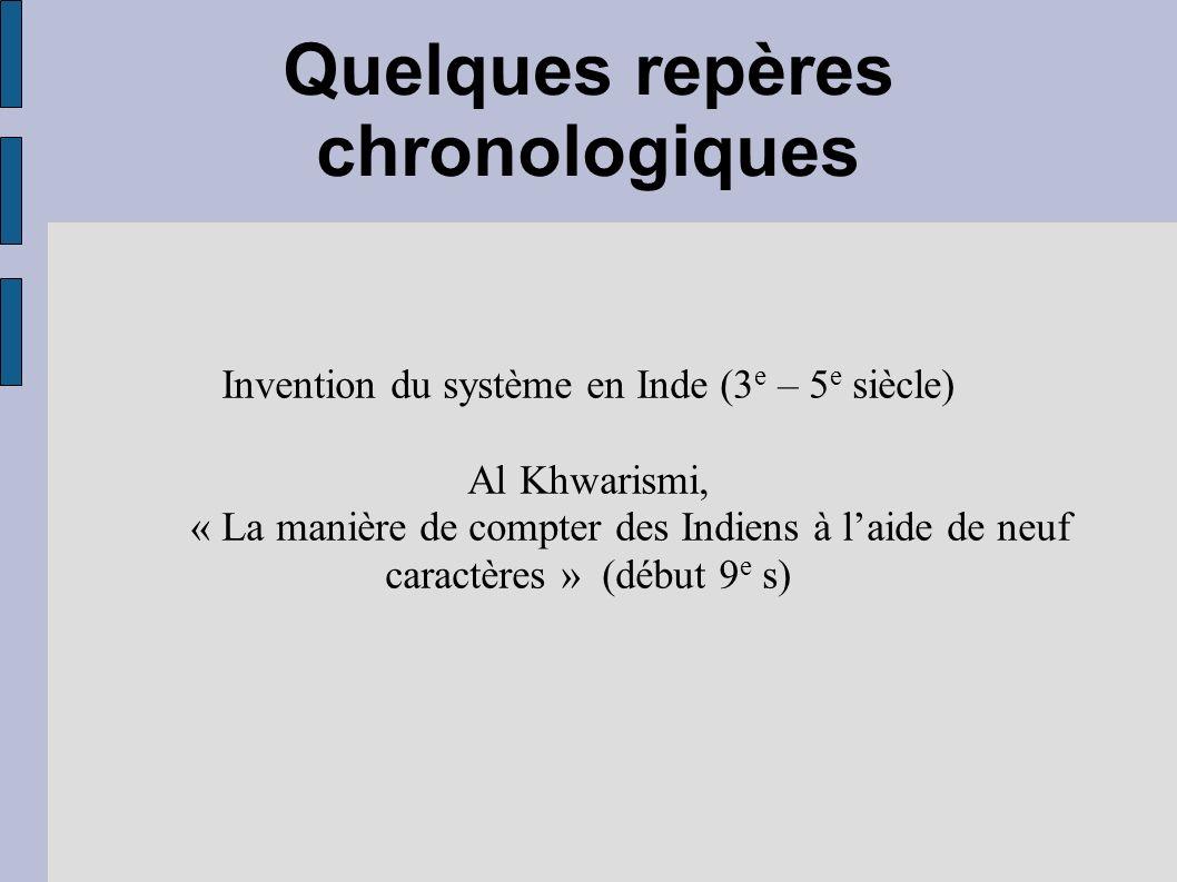 Quelques repères chronologiques Invention du système en Inde (3 e – 5 e siècle) Al Khwarismi, « La manière de compter des Indiens à laide de neuf cara