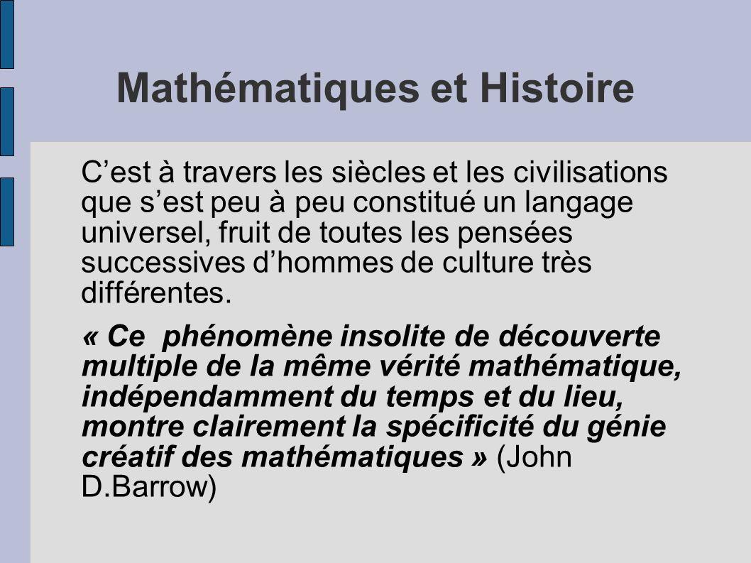 Mathématiques et Histoire Cest à travers les siècles et les civilisations que sest peu à peu constitué un langage universel, fruit de toutes les pensé