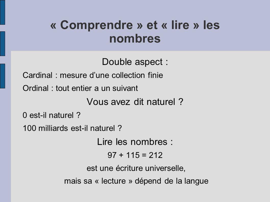 « Comprendre » et « lire » les nombres Double aspect : Cardinal : mesure dune collection finie Ordinal : tout entier a un suivant Vous avez dit nature