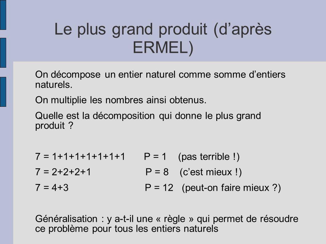 Le plus grand produit (daprès ERMEL) On décompose un entier naturel comme somme dentiers naturels. On multiplie les nombres ainsi obtenus. Quelle est