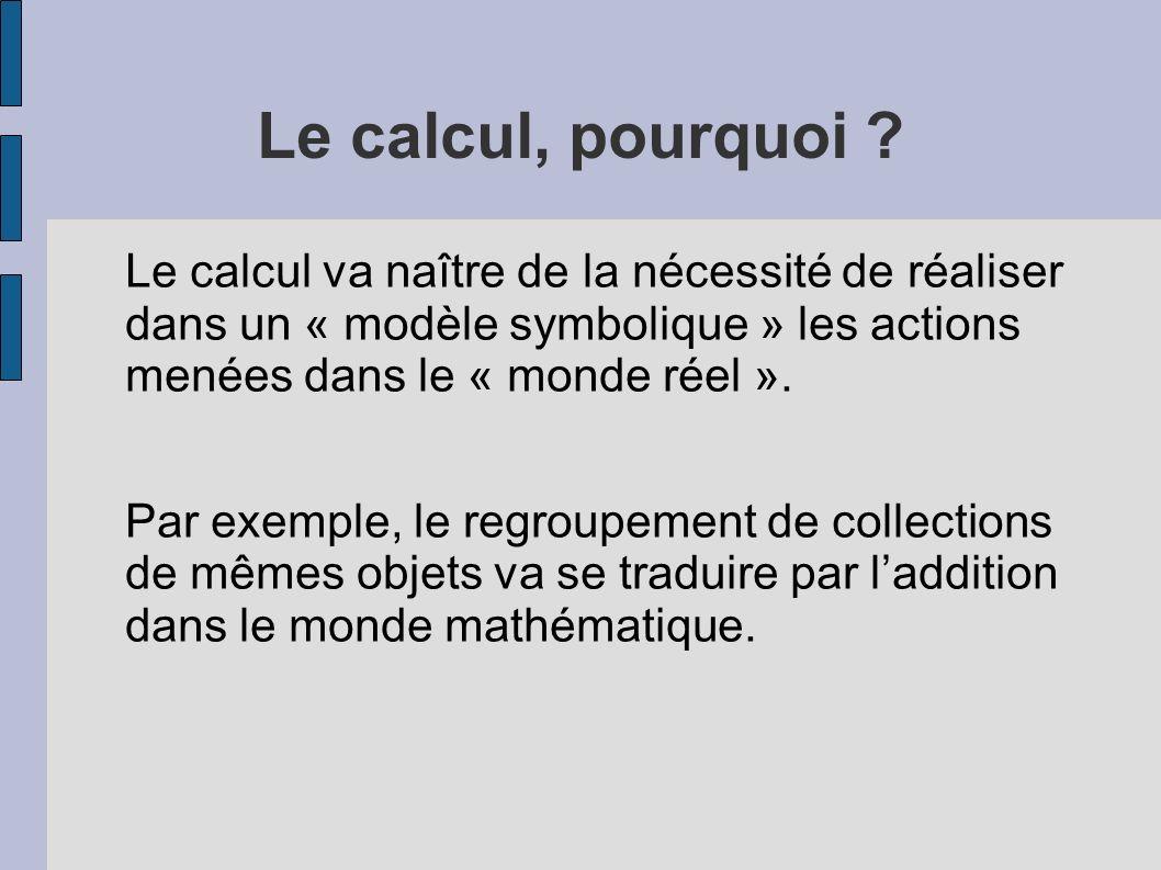 Le calcul, pourquoi ? Le calcul va naître de la nécessité de réaliser dans un « modèle symbolique » les actions menées dans le « monde réel ». Par exe