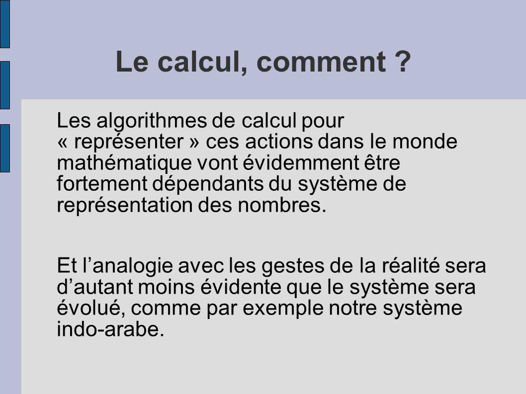 Le calcul, comment ? Les algorithmes de calcul pour « représenter » ces actions dans le monde mathématique vont évidemment être fortement dépendants d