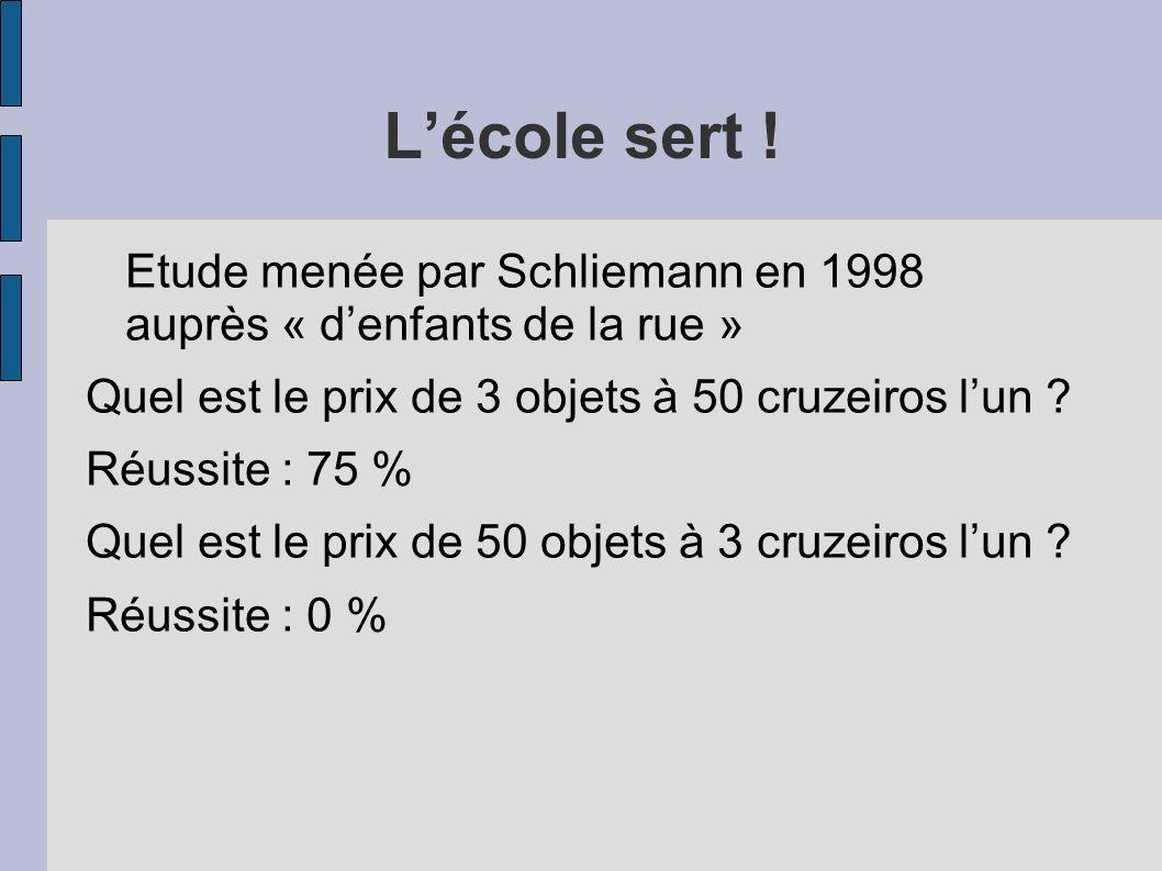 Lécole sert ! Etude menée par Schliemann en 1998 auprès « denfants de la rue » Quel est le prix de 3 objets à 50 cruzeiros lun ? Réussite : 75 % Quel