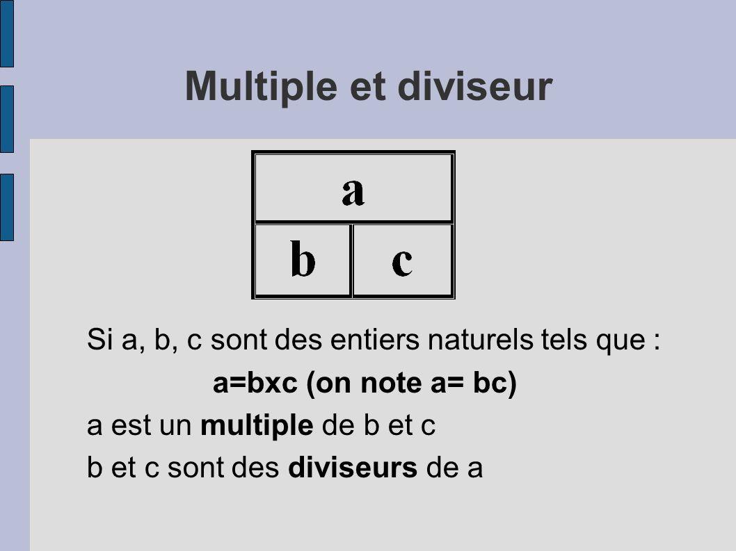 Multiple et diviseur Si a, b, c sont des entiers naturels tels que : a=bxc (on note a= bc) a est un multiple de b et c b et c sont des diviseurs de a