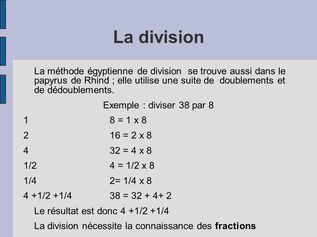 La division La méthode égyptienne de division se trouve aussi dans le papyrus de Rhind ; elle utilise une suite de doublements et de dédoublements. Ex