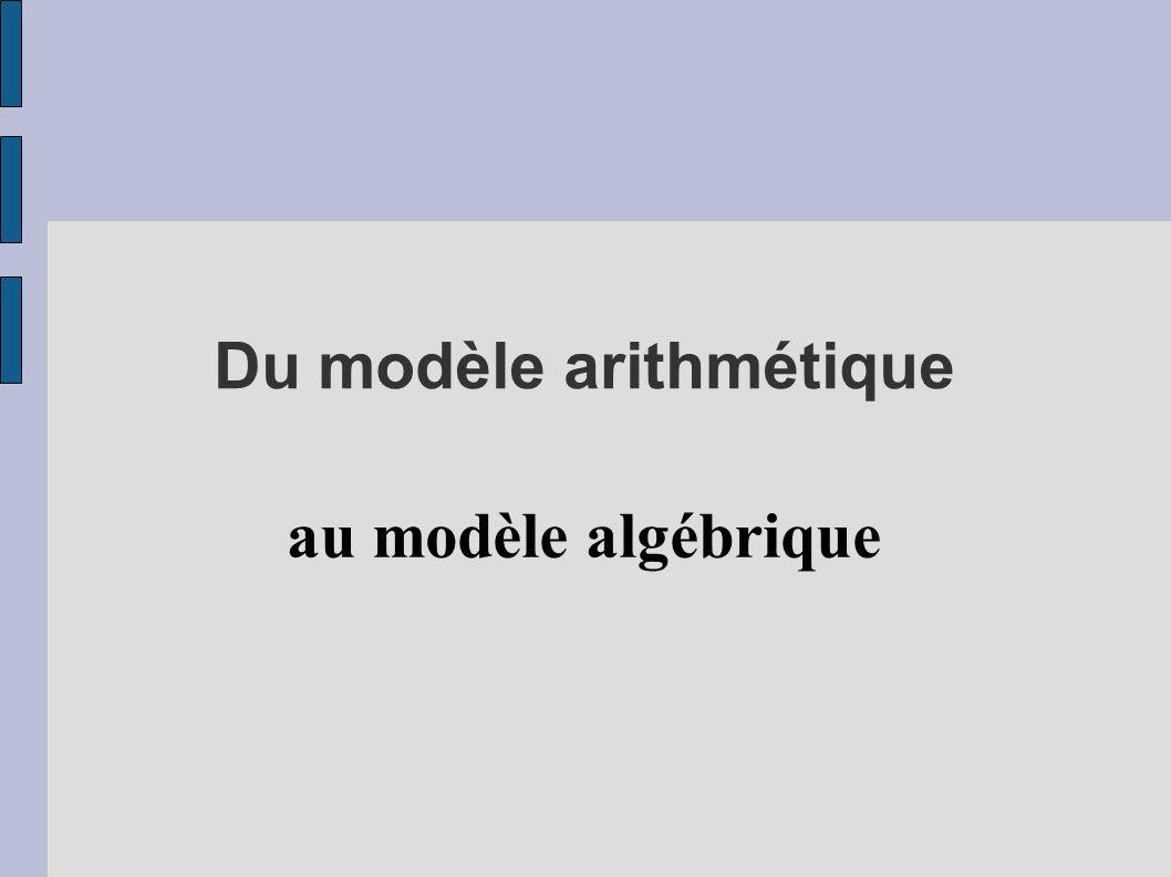 Du modèle arithmétique au modèle algébrique