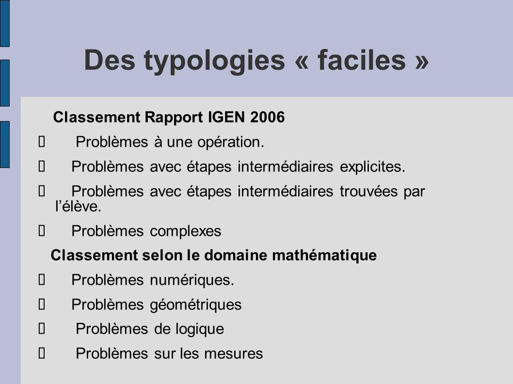 Des typologies « faciles » Classement Rapport IGEN 2006 Problèmes à une opération. Problèmes avec étapes intermédiaires explicites. Problèmes avec éta
